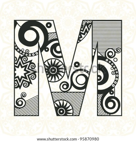 abstract floral ABC, ornamental letter M - stock vector