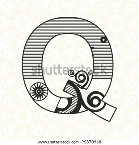 abstract floral ABC, ornamental letter Q - stock vector