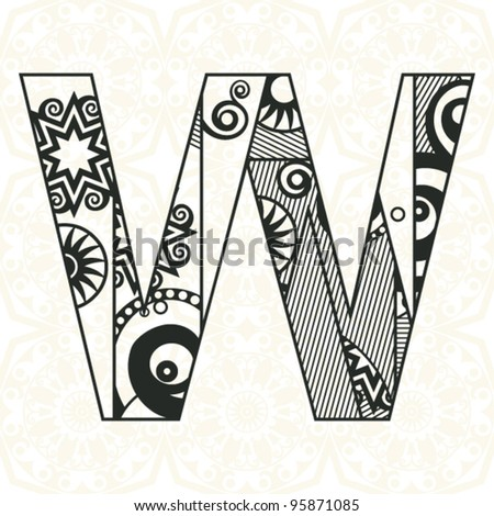 abstract floral ABC, ornamental letter W - stock vector