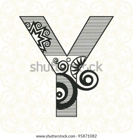 abstract floral ABC, ornamental letter Y - stock vector