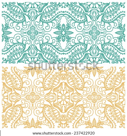 Abstract floral and geometric background set. Decorative ethnic ornament, border lace pattern. Series of image template frame design for card, hand drawn artwork - stock vector
