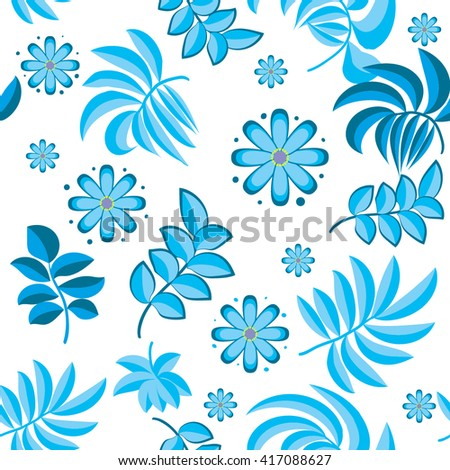 Abstract floral background for girls in tender colors. Creative beautiful design for fashion clothes, wallpaper, dress, and other. Seamless pattern with leaves and flowers.