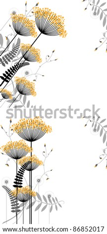 Abstract floral background of plant elements in gradations of black and yellow - stock vector