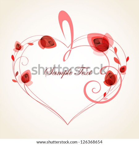 Abstract floral background. Vector heart with flower petals. Element for design.