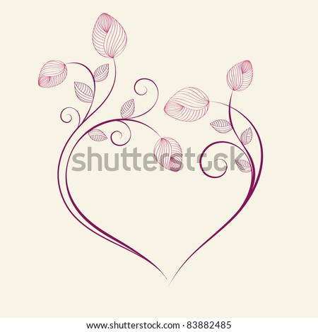 Abstract floral  background. Vector heart with flower petals. Element for design. - stock vector