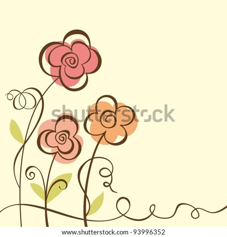 Abstract Floral Background. Vector illustration  with three flowers.