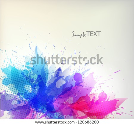 abstract floral  background with blue blots.Christmas & New Year. Vector greeting card - stock vector