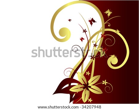 Abstract floral background with butterflies, vector - stock vector