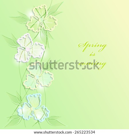 Abstract floral background with 3D paper flowers, leaves and place for the text. This vintage romantic image can be used as a background for a greeting card, valentine or the wedding invitation. EPS10 - stock vector