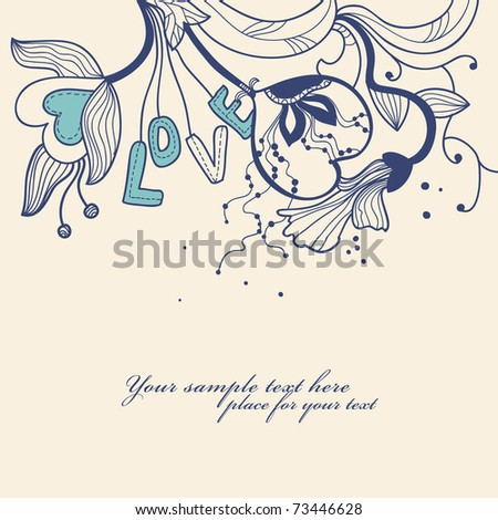 abstract floral background with fantasy flowers and cartoon letters - stock vector