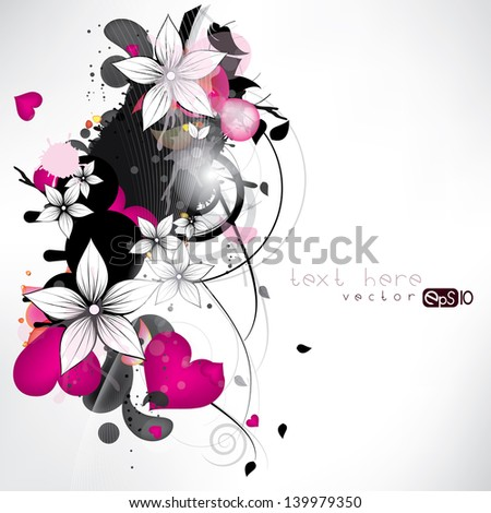 abstract floral background with flowers and swirls - stock vector