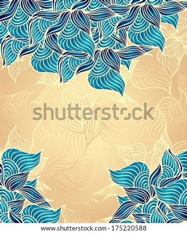 Abstract floral Background with flowers shells seaweed in beige marine color hand draw