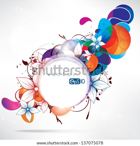 Abstract floral background with frame for text - stock vector