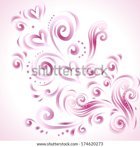 Abstract floral background with hearts in pink