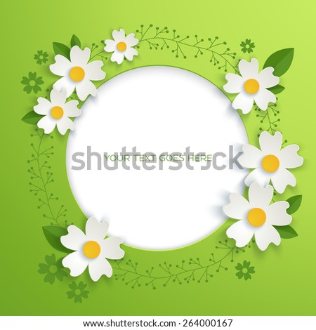 Abstract floral background with paper flowers