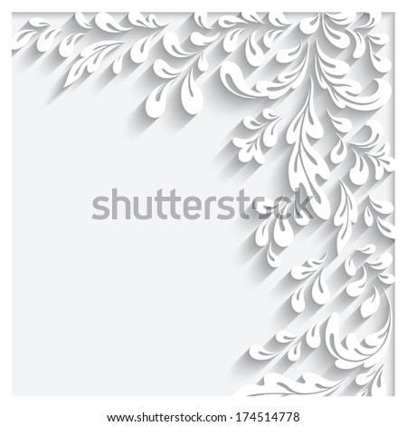 Abstract floral background with paper swirls, eps10 - stock vector