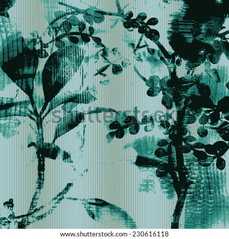 abstract floral background with silhouettes of houseplants. vector illustration. - stock vector