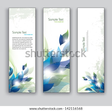 Abstract Floral Banners. Set of Three Vector Backgrounds.. - stock vector