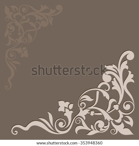 Abstract floral beige vector background. - stock vector