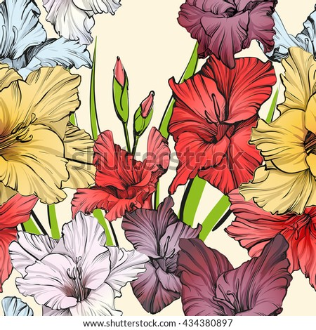 abstract floral blooming gladiolus background texture hand drawn vector illustration sketch
