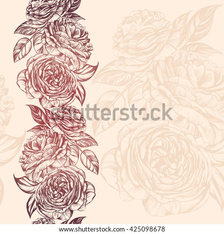 abstract floral blooming rose branch background  texture hand drawn vector illustration  sketch - stock vector