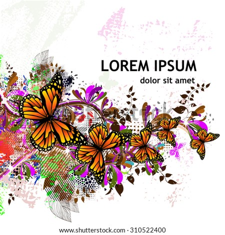Abstract floral colored with butterflies. Vector - stock vector