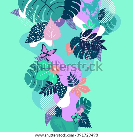 Abstract floral composition. Flat background.  - stock vector