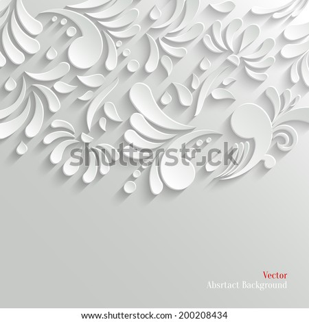Abstract Floral 3d Background, Trendy Design Template - stock vector