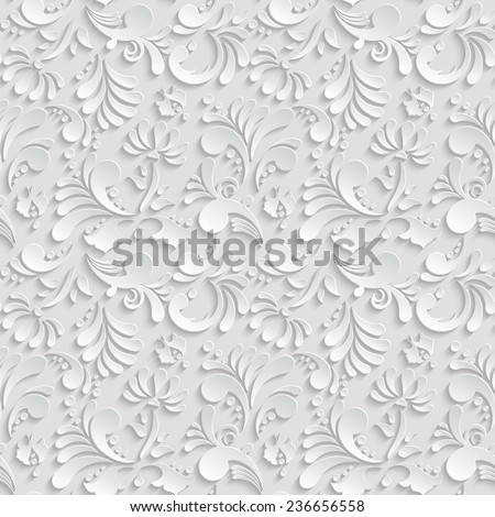 Abstract Floral 3d Background, Vector Seamless Pattern. Trendy Design Template for Christmas and Invitation Cards - stock vector