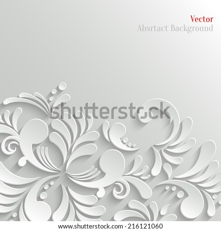 Abstract Floral 3d White Background, Trendy Design Template - stock vector