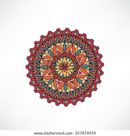 Abstract floral decorative element. Geometric arabesque ornament. Oriental ethnic mandala with Islam, Arabic, Indian, ottoman motif. - stock vector