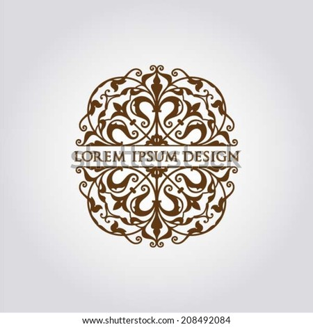 Abstract floral design element with text, design concept,vector - stock vector