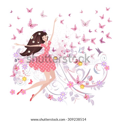 abstract floral design of cute girl with butterflies - stock vector