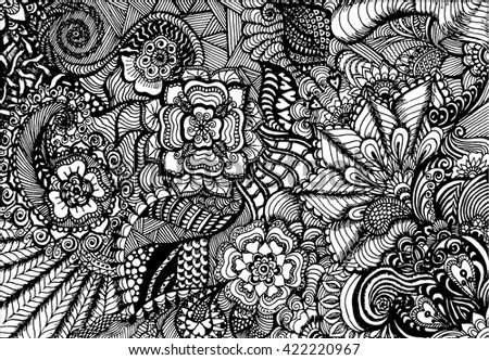 Abstract floral doodling illustration hand painted