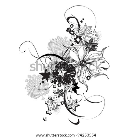 Abstract floral elements black and white