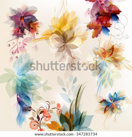 Abstract floral elements set colorful and shiny foliage - stock vector