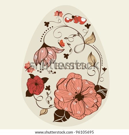 Abstract floral ester egg - stock vector