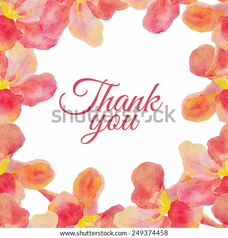Abstract floral garden watercolor seamless background with thank you inscription. Can be used for web pages, identity style, printing, textile, cards, wrapping, invitations, etc. - stock vector