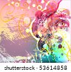 abstract floral girl, space for text - stock vector