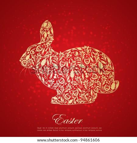 Abstract floral golden easter rabbit. Vector - stock vector