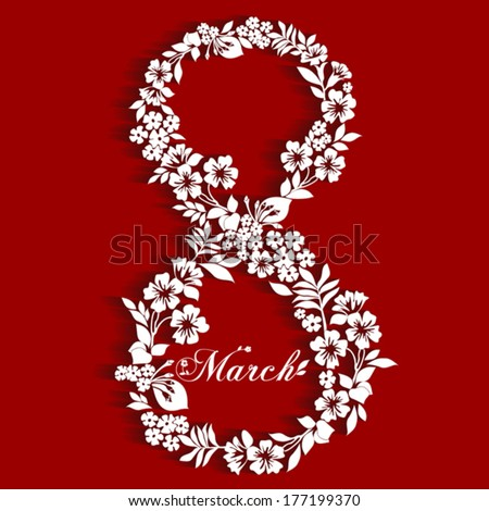 Abstract Floral Greeting card with 8 March. Trendy Design Template. Vector Version  - stock vector