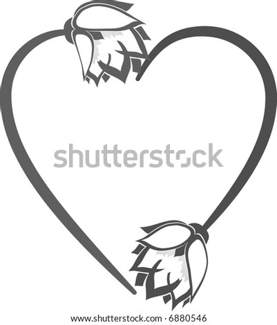 Abstract floral Heart frame element. No Gradients.