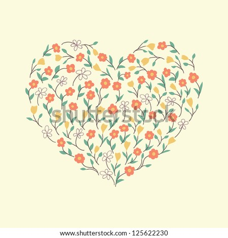 Abstract floral heart with flowers - stock vector