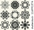 abstract floral icons, vector design elements - stock vector
