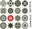 abstract floral icons, vector design elements for scrapbooking - stock vector