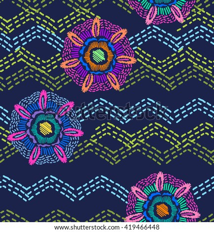 abstract floral medallions and zigzag ~ seamless background
