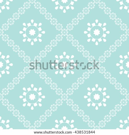 Abstract floral ornament seamless pattern with diagonal floral ornament of Powder Blue color for wallpapers and background. - stock vector