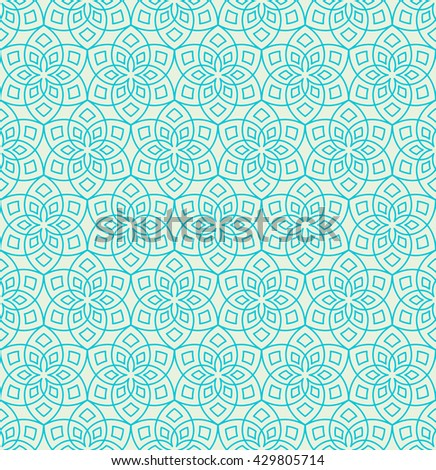 Abstract floral pattern. Geometric flowers in seamless vector pattern. Pattern with abstract flowers in oriental arabesque style. Seamless vector background.