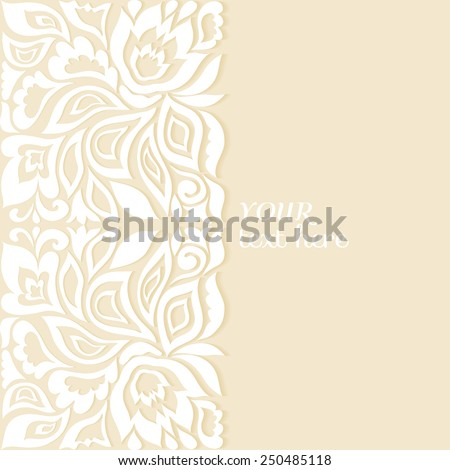 Abstract floral pattern, ornate frame border, wedding invitation or greeting card design with lacy background, beautiful luxury postcard, ornamental page cover, vector illustration - stock vector