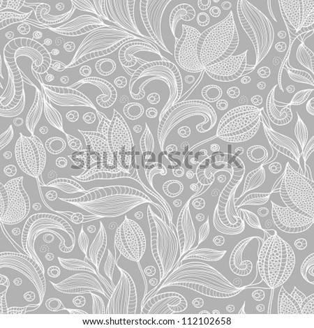 Abstract floral pattern. Seamless pattern with flowers and butterfly. Floral background. - stock vector